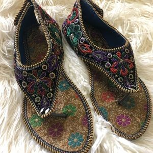 Colorful embroidered sandals from India